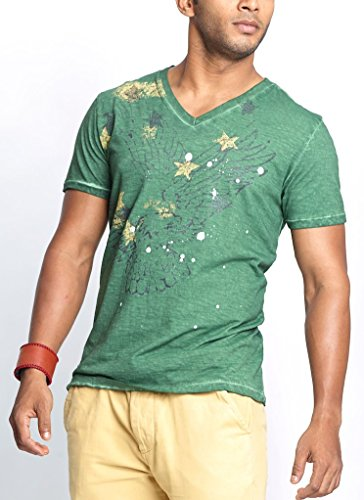 Masculino Latino Casual Green T-shirts V-Neck for Men MLT3002C-M