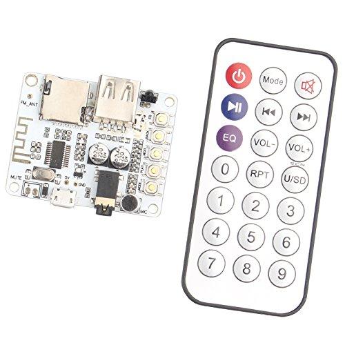 haljia Wireless Bluetooth V4.2Receiver Verstärker Board mit Fernbedienung und Mikrofon USB Port TF Card Slot Dekodierung Play FM Radio Stereo Musik Transmitter Modul für Kopfhörer - Fm-radio-bluetooth-empfänger