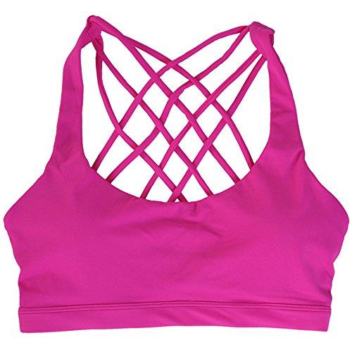 Esther Beauty Donna Sostegno Impatto Basso Dorso a Vogatore senza Ferretto Reggiseno Sportivo Esercizio Yoga Palestra Rosa Rosso