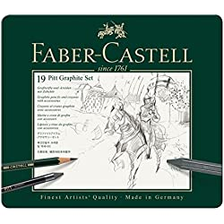 Faber-Castell 112973 - Estuche de metal con 3 ecolápices acuarelables, 6 grafitos 9000, 3 grafito Pitt puro, 2 grafitos y accesorios, multicolor