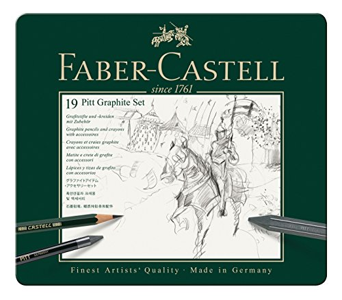 Faber-Castell 112973 - Pitt Graphite Set im Metalletui, medium, 19-teilig