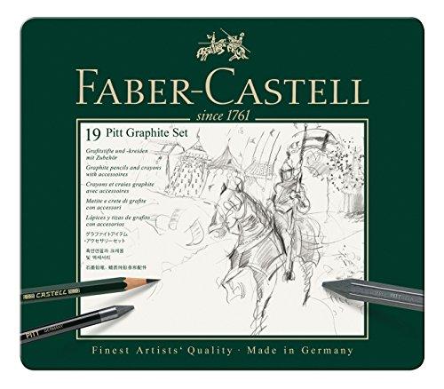 Faber-Castell 112973 – Estuche de metal con 3 ecolápices acuarelables, 6 grafitos 9000, 3 grafito Pitt puro, 2 grafitos y accesorios, multicolor