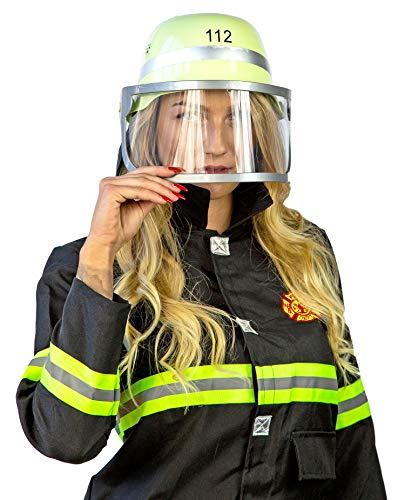 Nick and Ben Feuerwehrmann Feuerwehrfrau Set | Kostüm + Helm | 3-teilige Verkleidung für Karneval | Helm Oberteil Hose | schwarz gelb |: Größe: S(128)