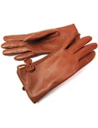 Ladies Womens New Super Soft Premium Luxary Genuine Leather Gloves Fully Lined Winter Warm Everyday Driving (Large, Tan)