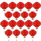 20 farolillos chinos de papel rojo con nudo chino, para decoración de Año Nuevo Chino, primavera, festival, boda, restaurante, 10 pulgadas