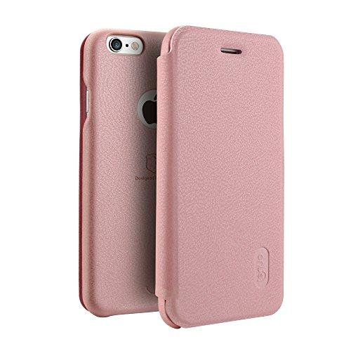 Phone case & Hülle Für iPhone 6 / 6s, PU + PC Litchi Texture Horizontale Flip Leder Tasche mit Kartensteckplätzen ( Color : Red ) Rose gold