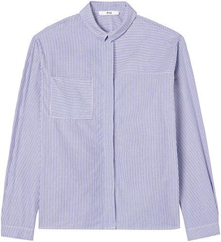 FIND Damen Gestreiftes Boyfriend-Hemd Blau (Blue Stripe)