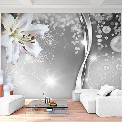 Fototapete Blumen Lilien Schwarz Weiß 352 x 250 cm Vlies Wand Tapete Wohnzimmer Schlafzimmer Büro Flur Dekoration Wandbilder XXL Moderne Wanddeko Flower 100% MADE IN GERMANY - Runa Tapeten 9077011c