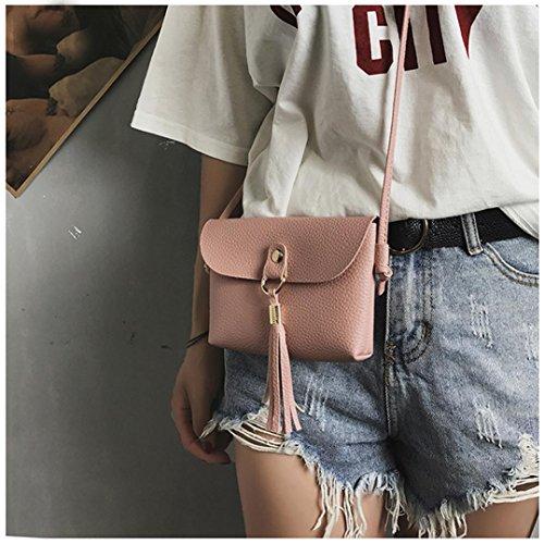 Hunpta Tasche Vintage Handtasche Kleine Mini Messenger Quaste Umhängetaschen Rosa