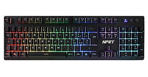 Npet p010 chroma tastiera italiana per gaming usb tastiera a led retroilluminata con led rainbow rgb 105 tasti - tastiera di lavoro a batteria resistente all'acqua a meccanico usb cablato per pc mac