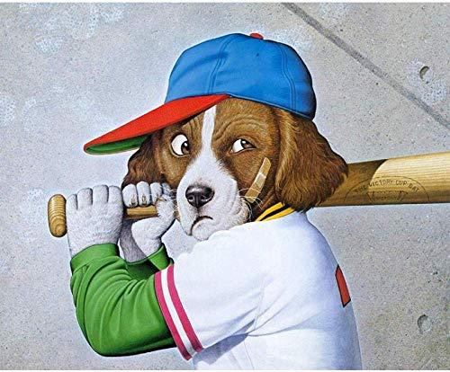 XADITON Malen nach Zahlen Kunst Spielen Baseball Tier Hund Acryl Digitale Malerei für Kinder und Erwachsene Anfänger Familie Wanddekoration rahmenlose 40 * 50 cm