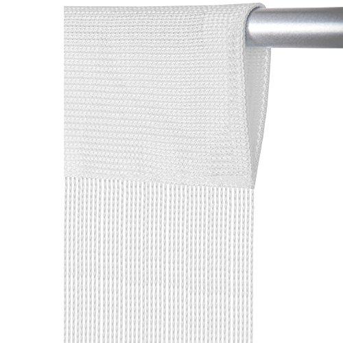 Fadenvorhang mit Stangendurchzug, individuell kürzbare Gardine, moderner und eleganter Dekorationsartikel in vielen Farben und Ausführungen (B90xL250 cm/weiß - schneeweiß)