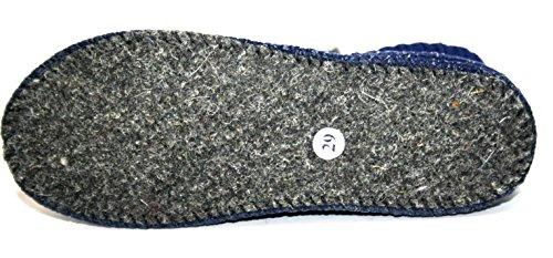 Haflinger Jungen Mädchen Hausschuh, Hüttenschuhe Blau (Dunkelblau)