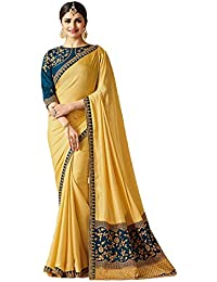 Quennswear Womens Embroidered Work Saree With Lace Border