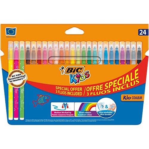 Bic Kids Kid Couleur + Fluos X4 Pack de 24 Feutres de Coloriage motif bulles Couleurs Vives