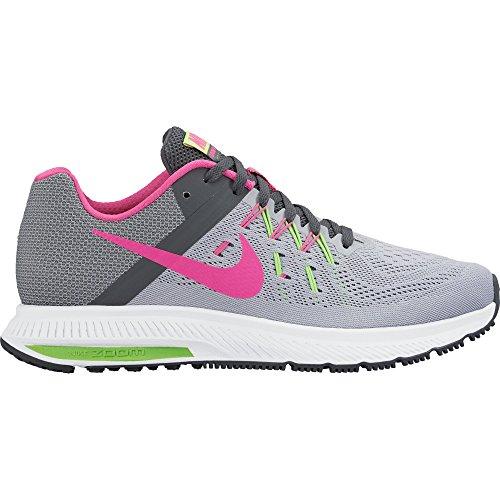 Nike Wmns Zoom Winflo 2, Scarpe da Corsa Donna Grigio (Gris (Wlf Gry / Pnk Blst-Drk Gry-Elctr))