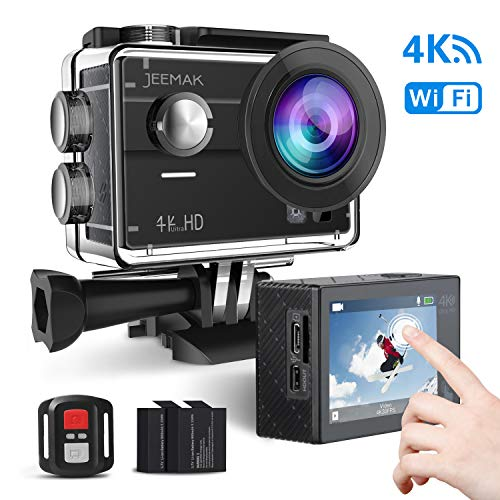 JEEMAK Action Cam 4K WiFi 16MP Ultra HD Helmkameras unterwasserkamera