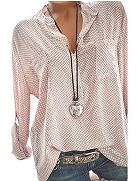 Camisa Suelta de la Blusa Informal de V de la Moda de Las Mujeres de la Manera Tops de la Blusa