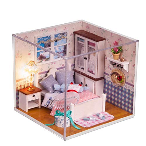 SENCILLON Wooden Dolls House with Furniture and Accessories, Educational Toys for Girls -Miniature 3d Greenhouse Craft Kits for Adults-Creative for Women