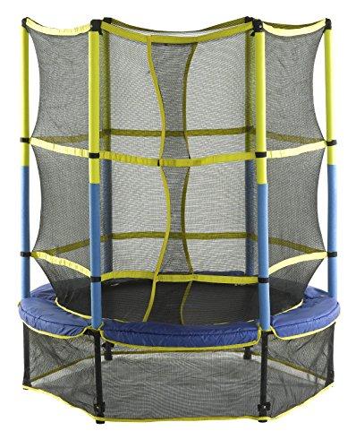 Upper Bounce Kinder 55'' Kinderfreundlicher Einzäunungs-Set mit Leichter Montage Trampolin, Blau/Gelb/Schwartz, 140 cm