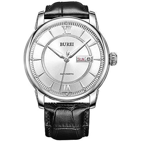 BUREI®–Orologio automatico con giorno e data, con cinturino in pelle di vitello nero, argento quadrante bianco