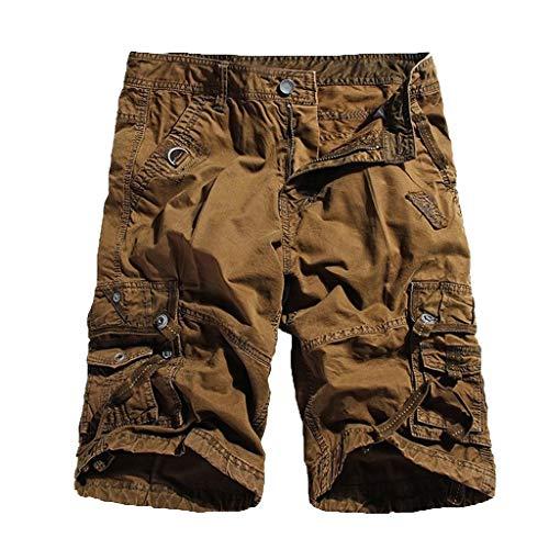 Kurze Hose Sportshorts Herren Shorts Xjp MäNner Sommer Mid Rise Herren Shorts Lose LäSsige Multi Pocket Tooling Baumwollhosen Neu Stil Badeshorts Sweatpants(32, Kaffee) -