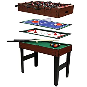 multi spieltisch 4 in 1 poolbillard tischfu ball tischhockey tischtennis sport. Black Bedroom Furniture Sets. Home Design Ideas
