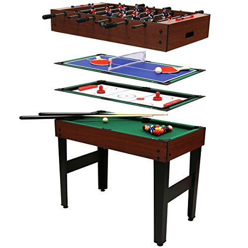 Charles Bentley - Tavolo multigioco 4 in 1 - Biliardo, Calcio, Hockey, Ping Pong