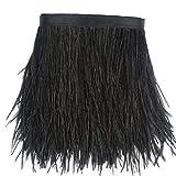 Sowder Straußenfeder-Borte, Fransen mit Satinband, für Kleidung, Kostüme, Nähen, Dekoration, 183 cm Schwarz