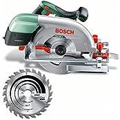 Bosch DIY Kreissäge PKS 66 A, 1 Hartmetallsägeblatt Speedline Wood, Parallelanschlag, Karton (1600 W, Schnitttiefenbereich bei 90° 0-66 mm, Kreissägeblatt Nenn-Ø 190 mm)