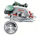 Bosch Sierra circular PKS 66 A, 1 Hoja de sierra de metal duro Speedline Wood, tope paralelo, en caja de cartón (1600 W, Profundidad de corte a 90° 0-