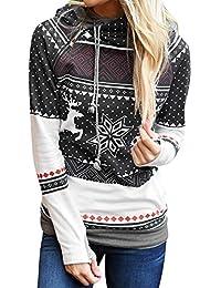 ZIYOU Christmas Hoodie Pollover für Damen Frauen Schneeflocke Gepunktet Sweatshirt mit Kapuze Langarm Zipper Hooded T-Shirt Blouse
