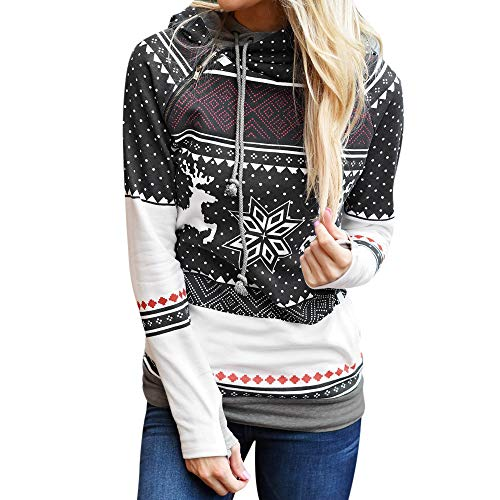 OSYARD Christmas Hooded sweater Sweatshirts for Women Christmas sweaters Women Reindeers Snow Flakes Print Tops Blouse T-shirt Top Zippers (L, Black)