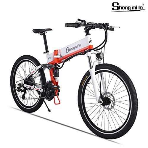 Shengmilo 500W Bicicleta Eléctrica Plegable, Shimano 21 Speed,Freno XOD,Bicicleta De Montaña E De 26 Pulgadas, Batería De Litio De 13ah Incluida (Blanco)