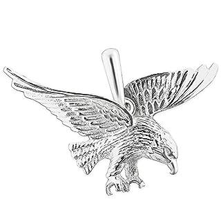 CLEVER SCHMUCK Silberner Anhänger großer Adler fliegend 37 mm plastisch und glänzend STERLING SILBER 925