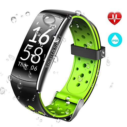 JUCERS Fitness Armband mit Pulsmesser, Wasserdicht IP68 Schwimmen Fitness Tracker