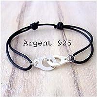 Bracelet unisexe menotte argent sterling 925/000 et cordon 16 couleurs au choix réglable