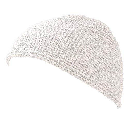Kostüm Lange Haare Jungs - Casualbox Charm Schädel Mütze Islam Beanie Hut Kufi Hand Gemacht Herren Weiß L