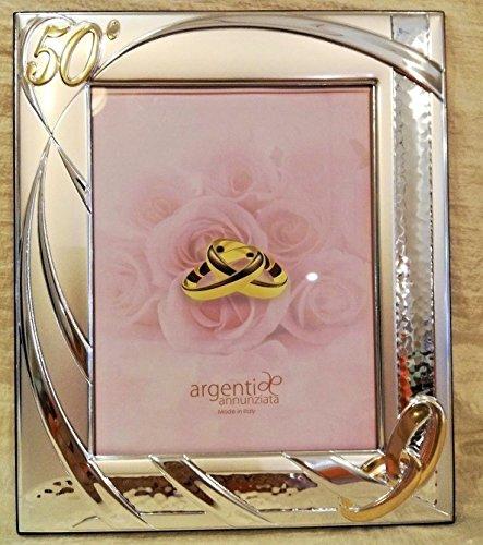 L'angolo barletta bomboniere regalo 50 anni matrimonio cornice argento portafoto fedi nozze oro grande