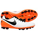 NIKE Herren Tiempo Genio II Leather AG-R Fußballschuhe, Elfenbein-Blanc Cassé-Blanco (White/Black-Total Orange), 40 1/2 EU