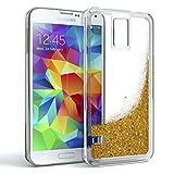EAZY CASE GmbH Samsung Galaxy S5 / S5 LTE+ / S5 Duos / S5 Neo Schutzhülle mit Flüssig-Glitzer, Handyhülle, Schutzhülle, Back Cover mit Glitter Flüssigkeit, Silikon, Transparent/Durchsichtig, Gold