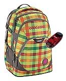 Coocazoo Schulrucksack EVVERCLEVVER2 mit LED-Sicherheitslicht - viele Farben und Dessins (Hip To Be Square Green)