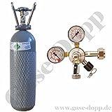 2 KG CO2 Flasche (TÜV 2024) + C02 Druckminderer 1 leitig 3 Bar - im Set für Bier Zapfanlagen / Durchlaufkühler von Gase Dopp