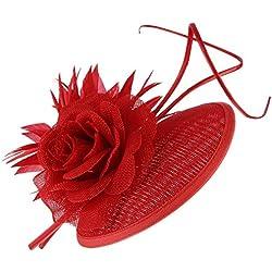 GEMVIE Mujer Tocado Pelo Flor Clip Sombrero Boda Cóctel Novia Headwear Rojo