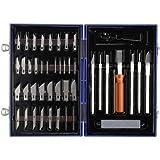 Basetech Messer-Set 50-teilig Skalpell Schablonenmesser Präzisionsmesser Schnitzarbeits-Set