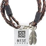 MESE London Schwarz & Braun Wikinger Geflochtenes Armband Tribal Braded Seil Mit Federn Anhänger - 4