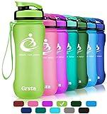 Grsta Sport Trinkflasche 20oz-600ml - Wasserflasche Auslaufsicher, Eco Friendly BPA Frei Tritan Kunststoff Flaschen mit Frucht Filter, Sporttrinkflasche für Kinder, Gym, Yoga, Camping(Grün)