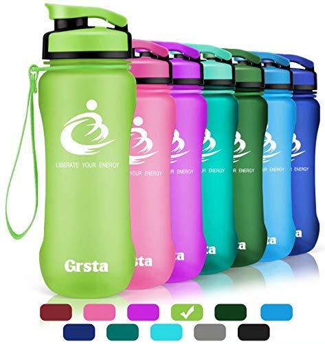 Grsta Bottiglia d'Acqua Sportiva - 20oz-600ml Borraccia Sportiva, a Prova di perdite, Riutilizzabile Senza BPA tritan plastica Detox Bottiglie Acqua per Palestra, Sport, Yoga, la Corsa (Verde)