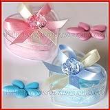 Scatola portaconfetti in plexiglass a forma di cuore con fiocco e ciuccio rosa - Bomboniera nascita,battesimo femminuccia (kit 6 pz + confezione)