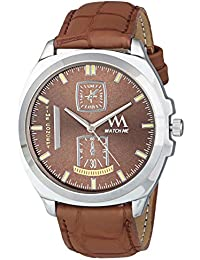 Watch Me Analog Brown Dial Brown Leather Strap Quartz Watch For Men And Boys WMAL-329men